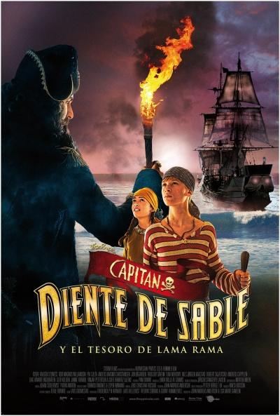 Cartel de Capitán Diente de Sable y el tesoro de Lama Rama (Kaptein Sabeltann og skatten i Lama Rama)