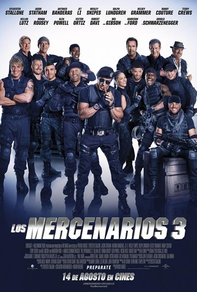 Cartel de Los mercenarios 3 (The Expendables 3), película, acción, humor, crítica